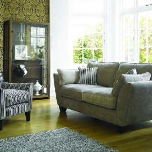 Ashley Manor Alexis 3str & acc chair (sherlock mink with jupiter stripe charcoal)